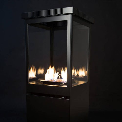 Black Marino Patio Heater on Gas with Flames