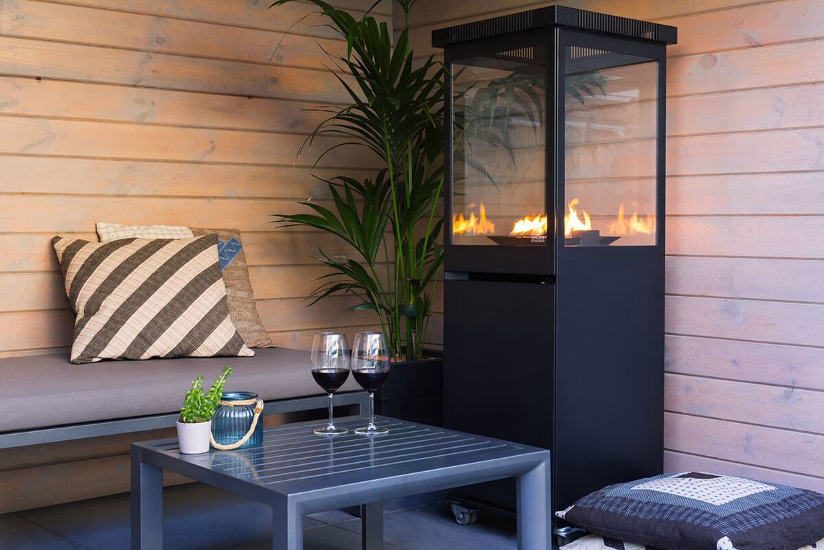 Marino black patio gas fire sunwood design gas heaters